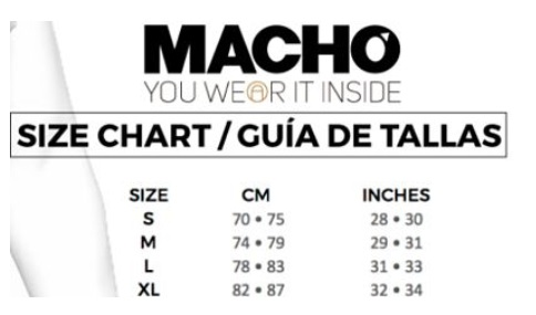 tabla tallas macho
