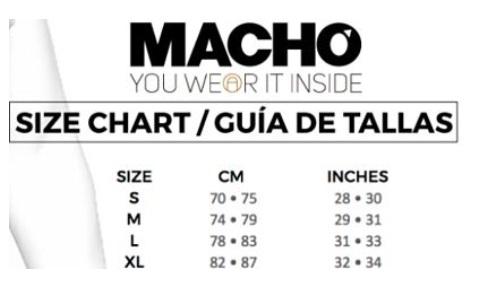 tabla talla lenceria masculina